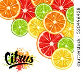 background with citrus fruits... | Shutterstock .eps vector #520496428