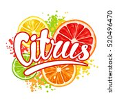 print with citrus fruits slices.... | Shutterstock .eps vector #520496470