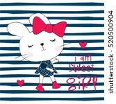 cute bunny girl on striped... | Shutterstock .eps vector #520500904