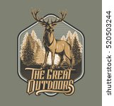 wild deer   emblem   wood...
