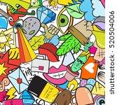 graffiti pattern with urban... | Shutterstock .eps vector #520504006