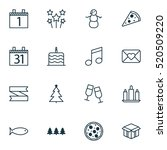 set of 16 holiday icons. can be ... | Shutterstock .eps vector #520509220