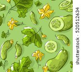 seamless pattern with cucumber | Shutterstock .eps vector #520512634