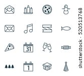 set of 16 holiday icons. can be ... | Shutterstock .eps vector #520513768