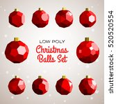low poly merry christmas balls...   Shutterstock .eps vector #520520554