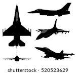 set of military jet fighter...   Shutterstock .eps vector #520523629
