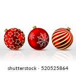 three red christmas balls on... | Shutterstock .eps vector #520525864