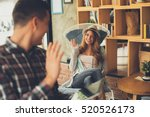 young man and woman say hi each ... | Shutterstock . vector #520526173