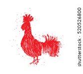 rooster red label. vintage... | Shutterstock . vector #520526800