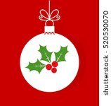 christmas bauble with holly... | Shutterstock .eps vector #520530070