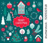 set of vector christmas... | Shutterstock .eps vector #520532518