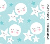 seamless moon and stars pattern ... | Shutterstock .eps vector #520539340