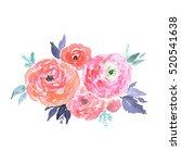 bright watercolor bouquet of... | Shutterstock . vector #520541638