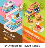 street food candy and hotdogs... | Shutterstock .eps vector #520543588