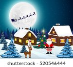 night christmas forest... | Shutterstock .eps vector #520546444
