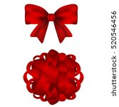 set of red bows on a white... | Shutterstock .eps vector #520546456