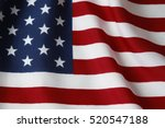 closeup of rippled american flag | Shutterstock . vector #520547188