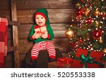 Happy Baby Elf Helper Of Santa...