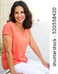 attractive joyful and positive... | Shutterstock . vector #520558420