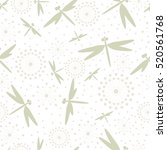 dragonfly and dandelion pattern  | Shutterstock .eps vector #520561768
