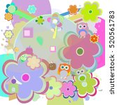 birthday party elements with... | Shutterstock . vector #520561783