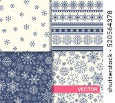 set of seamless winter patterns ... | Shutterstock .eps vector #520564378