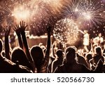 cheering crowd watching... | Shutterstock . vector #520566730