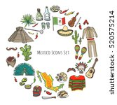 hand drawn doodle mexico set... | Shutterstock .eps vector #520575214