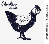 vector doodle chicken icon....