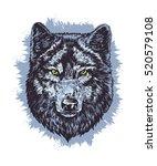 wolf dark vector hand draw... | Shutterstock .eps vector #520579108