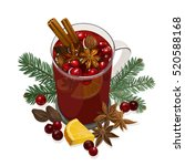 mulled wine. decorative vector... | Shutterstock .eps vector #520588168