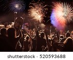 cheering crowd watching... | Shutterstock . vector #520593688