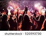 cheering crowd watching... | Shutterstock . vector #520593730