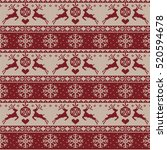 knitted christmas pattern ... | Shutterstock . vector #520594678