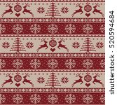 knitted christmas pattern ... | Shutterstock . vector #520594684