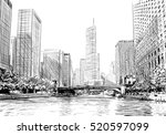 chicago city hand drawn. street ... | Shutterstock .eps vector #520597099
