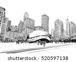 chicago city hand drawn. street ... | Shutterstock .eps vector #520597138