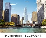 chicago city hand drawn. street ... | Shutterstock .eps vector #520597144