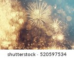 fireworks at new year and copy... | Shutterstock . vector #520597534