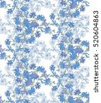 seamless pattern with chicory....   Shutterstock . vector #520604863