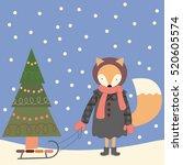 cute fox girl in a winter coat. ... | Shutterstock .eps vector #520605574