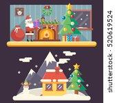 christmas room new year house... | Shutterstock .eps vector #520619524