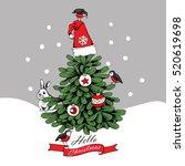 christmas card. fir tree in a... | Shutterstock .eps vector #520619698