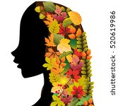 girl in profile with leaves in... | Shutterstock .eps vector #520619986