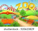 zoo  vector background.... | Shutterstock .eps vector #520623829