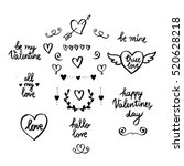 set of hand drawn valentine's... | Shutterstock .eps vector #520628218