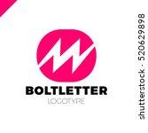 abstract letter m logo. dynamic ... | Shutterstock .eps vector #520629898