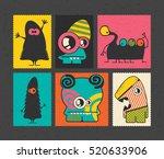 set of retro postage s stamp... | Shutterstock .eps vector #520633906