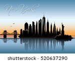 new york city skyline   vector... | Shutterstock .eps vector #520637290