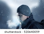 hiker breathe out in front of... | Shutterstock . vector #520640059